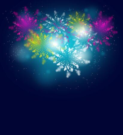 Illustration of big colorful firework on dark blue background