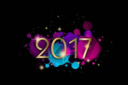 Illustration of new year 2017 greeting card with colors decoration