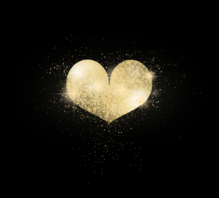 gloss: Golden shining heart on dark black background Stock Photo
