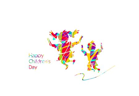 Greeting to happy childrens day with colorful silhouettes of two childrens
