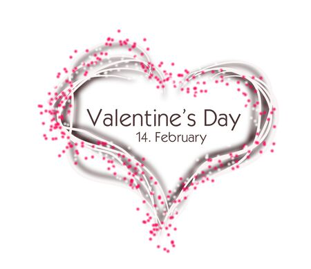 Illustration of white heart decorated with pink dots and text Valentines Day Stock Photo