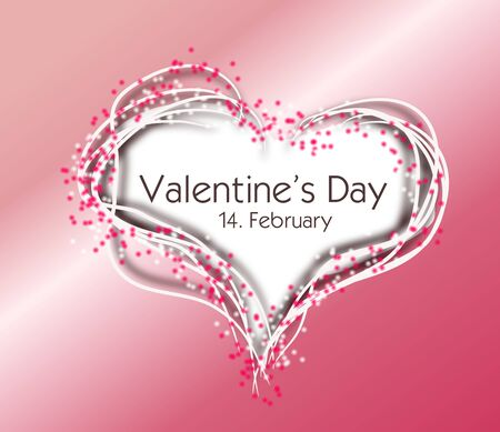 Illustration of heart decorated with pink dots and text Valentines Day
