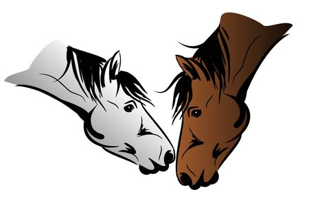 illustration of two horse kissing each other on white background Stock Photo