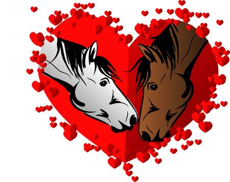Illustration of two horse kissing each other in big red heart decorated with small hearts Stock Photo