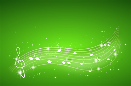 Illustration of green background with white music decoration