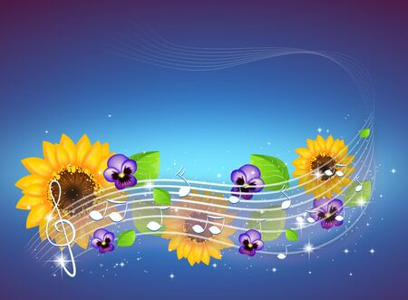 Illustration of music background with floral decoration
