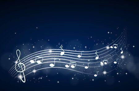Illustration of dark blue background with white music decoration
