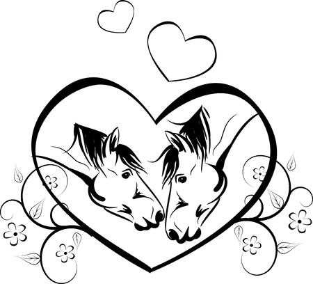 yegua: Ilustración vectorial de dos caballos que se besan en el corazón grande decorado con adornos florales