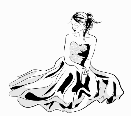 looking down: Vector illustration of young girl in beautiful dress sitting and looking down Illustration