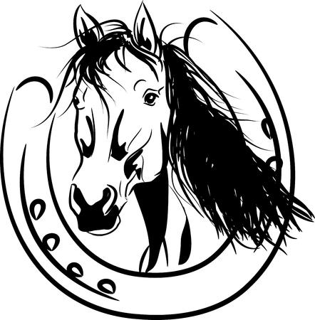 Vector illustration of horse head in golden horseshoe Vectores