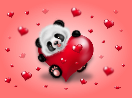 Illustration of cute small panda decorated with red hearts on pink background