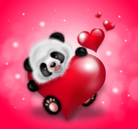 cute cartoon animals: Illustration of cute small panda decorated with red hearts on pink shining background Stock Photo