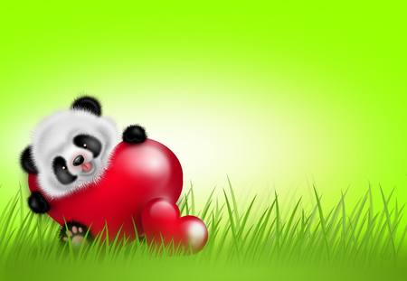 Illustration of light green background decorated whith small panda with two red hearts in grass