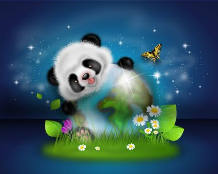 Illustration of cute panda with earth globe decorated with grass and flowers on dark blue starry background Stock Photo