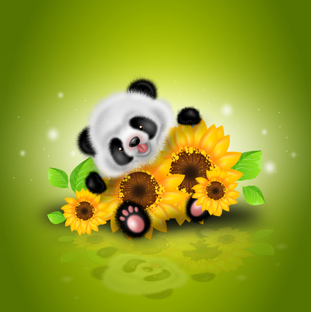 Illustration of small panda bear with sunflowers on green background