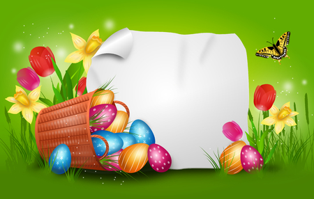 lay down: Realistic illustration of wicker basket with pile easter eggs and flowers decoration