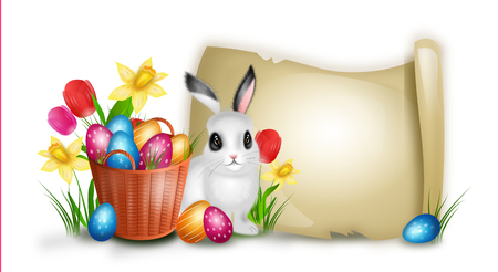 lay down: Realistic illustration of wicker basket with pile easter eggs and flowers decoration and cute rabbit Stock Photo