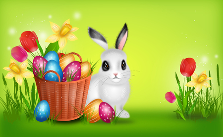 Realistic illustration of wicker basket with pile easter eggs and flowers decoration and cute rabbit Stock Photo