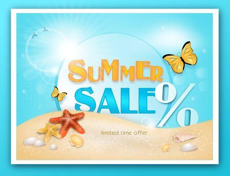 Illustration of summer sale card with starfish on sandy beach Stock Photo