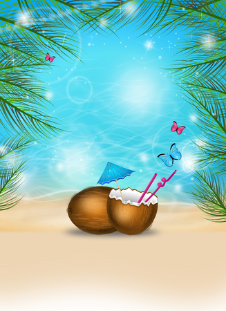 Illustration of poster for summer party with coconut and palm leaves in shiny sunny day