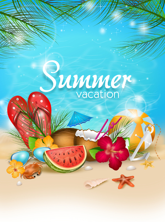Illustration of summer poster with summer decoration and text summer vacation Stock Photo