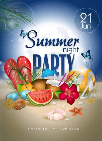Illustration of poster for summer night party with realistic decoration
