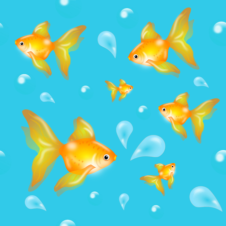Illustration of seamless pattern with goldenfish and drops of water