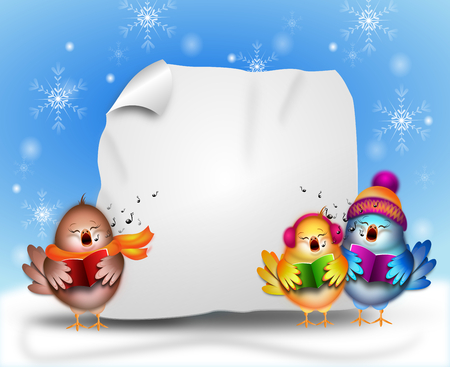 Illustration of singing birds in winter time with empty sheet of paper