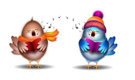 Illustration of two small singing birds christmas carol Stok Fotoğraf