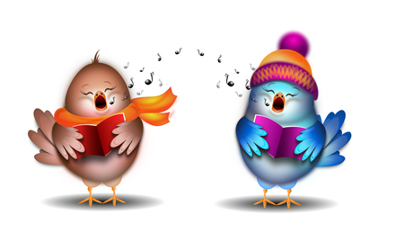 Illustration of two small singing birds christmas carol Stock Photo