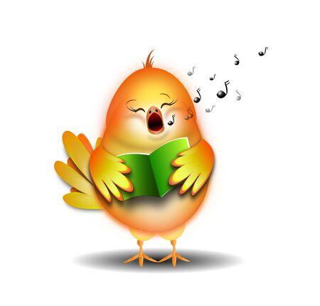 Illustration of small singing bird on white background Stock Photo