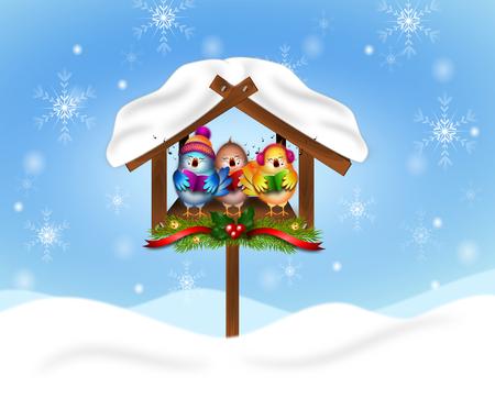 Illustration von Singing Vögel in Snowy Feeder