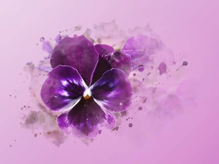 Illustration of water colors drawn violet background