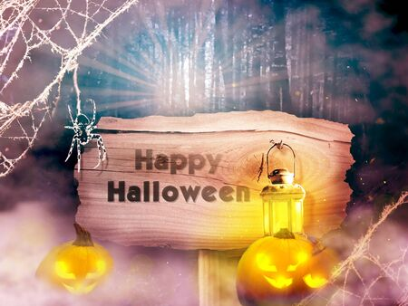 Halloween background with wooden board, lantern and spider cob
