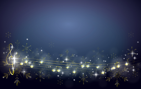 Blue christmas background decorated with golden music notes