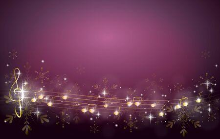 Sfondo Natale viola decorato con note di musica dorata