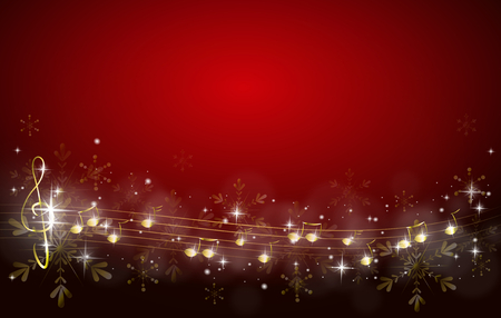 Red christmas background decorated with golden music notes