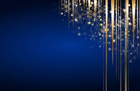 Blue christmas background with golden decoration in corner