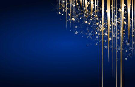 Fondo azul de Navidad con decoración dorada en la esquina Foto de archivo - 89260316