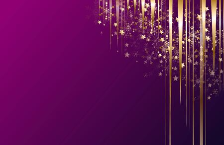 Purple christmas background with golden decoration in corner