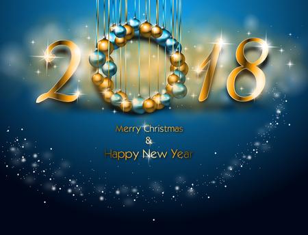 Illustratie van de gelukkige kaart van de nieuwjaargroet in blauwe kleur