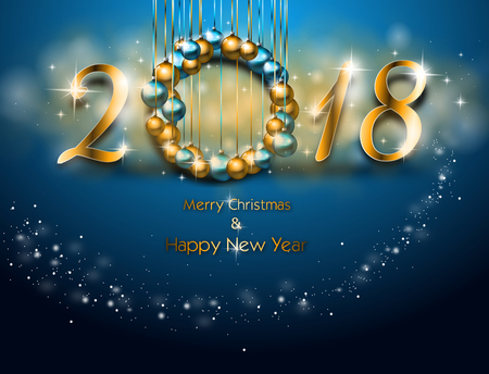 Illustration of happy new year greeting card in blue color