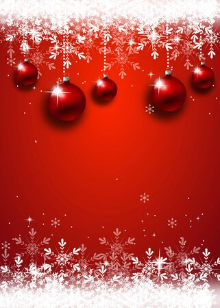Beautiful pink christmas background decorated with christmas bulbs and snowflakes