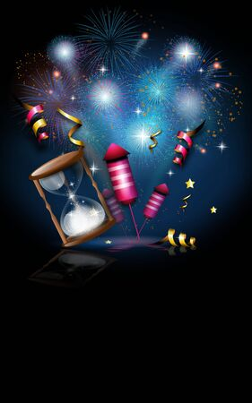 Illustration of new year's celebration with firework Imagens