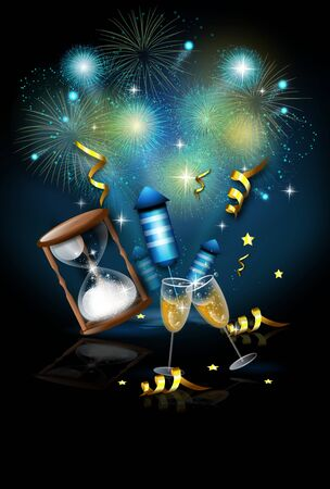 Illustration of new years celebration with firework Stock Photo