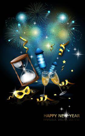 Illustration of new years celebration with firework Stock Photo