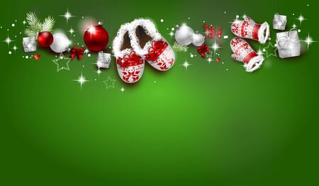 Christmas background decorated with christmas bulbs and winter objects