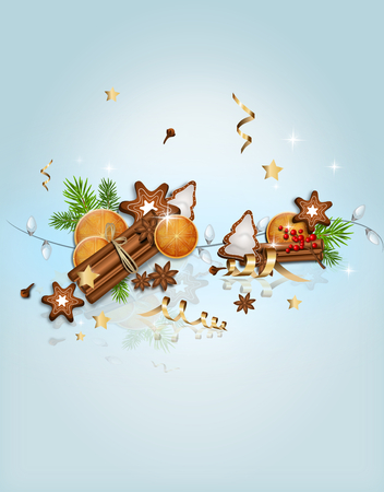 Christmas greeting card with traditional christmas objects - cinnamon, orange and star anise
