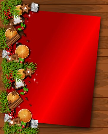 Illustration of christmas background with traditional christmas decorations