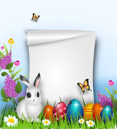 Illustration of cute easter background decorated with easter eggs and bunny